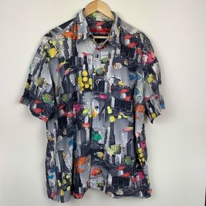 Signum Vintage Button Up City Fish Print